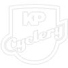 KP Cyclery logo in white with stroke