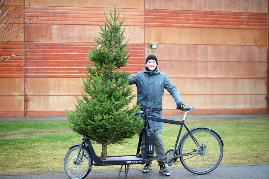 Christmas tree on a KP Cyclery Nighthawk Cargo Bike